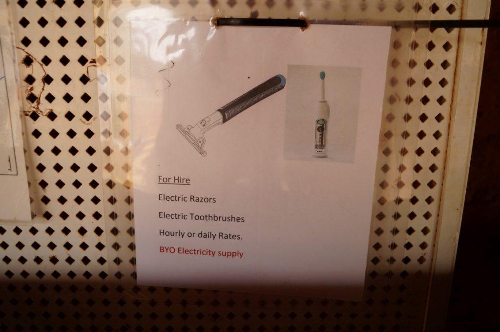 Banka Banka Station Northern Territory joke electric shaver and toothbrush