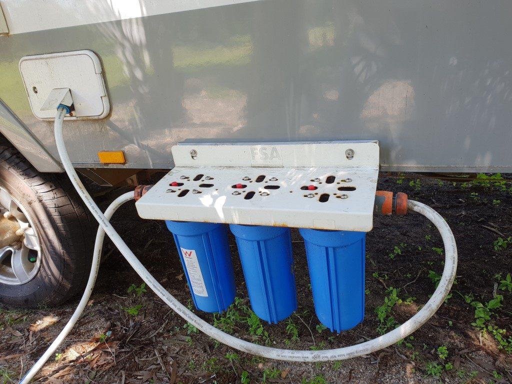 Triple water filter for caravan RV