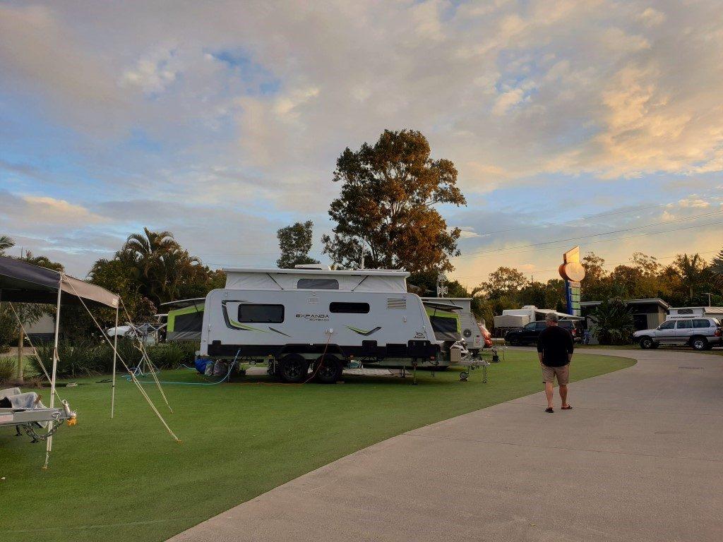 Big-4-helensvale-caravan parking RV sites grass sites sunset
