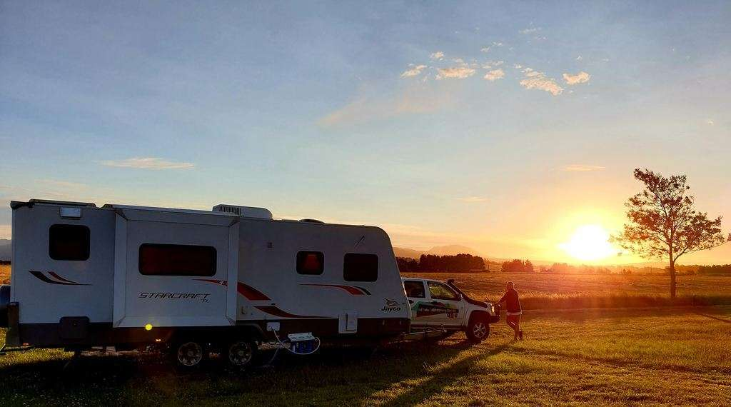 Hagley RV Farm Stay sunset