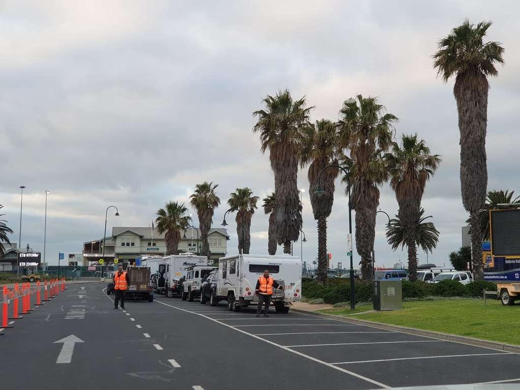 Spirit Of Tasmania caravans queuing for boarding