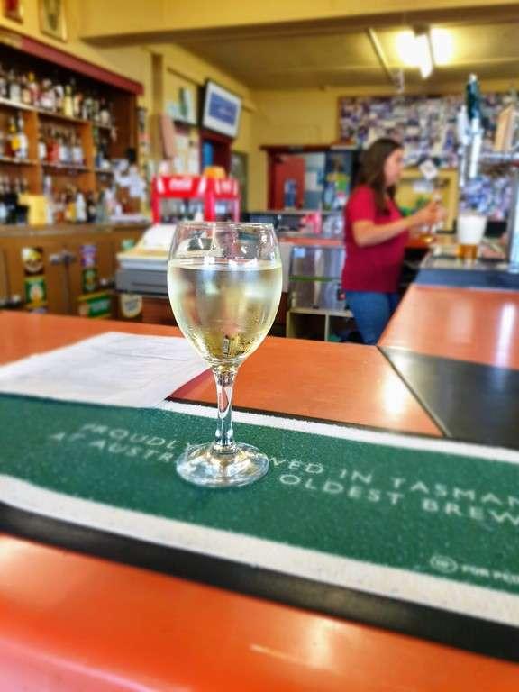 wine at the bar Spring Bay Hotel Triabunna Tasmania