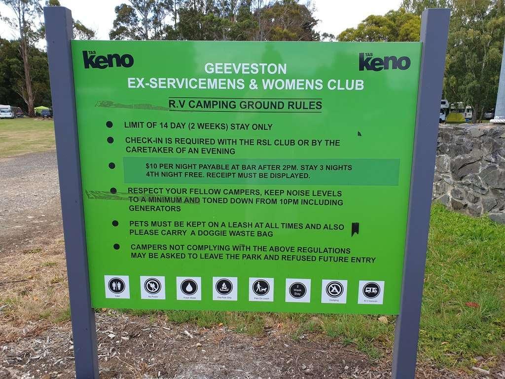 Geevestone RSL Tasmania camping rules