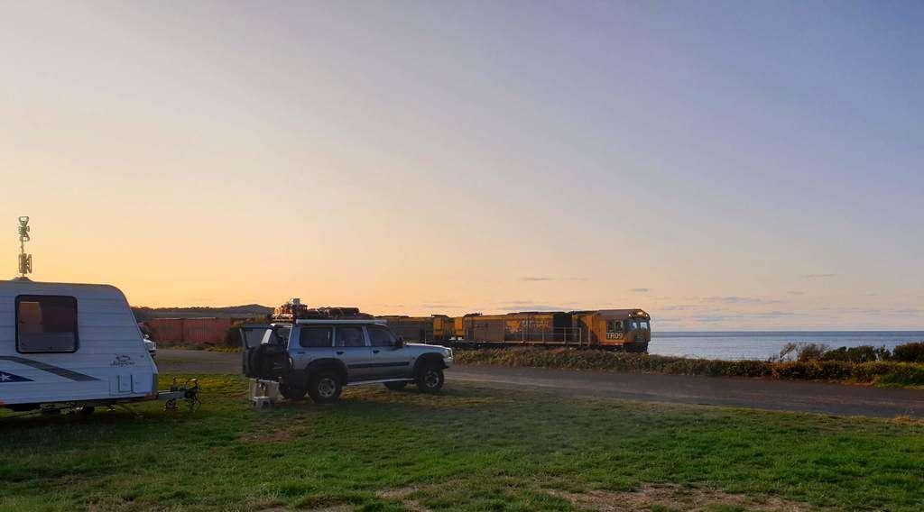 Sulphur Creek campground Tasmania Sulphur Creek campground Tasmania sunset and train