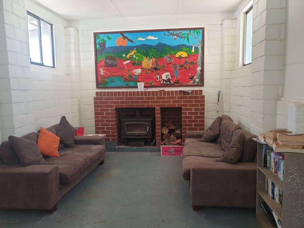 Avoca Caravan Park Victoria Camp kitchen fire couches