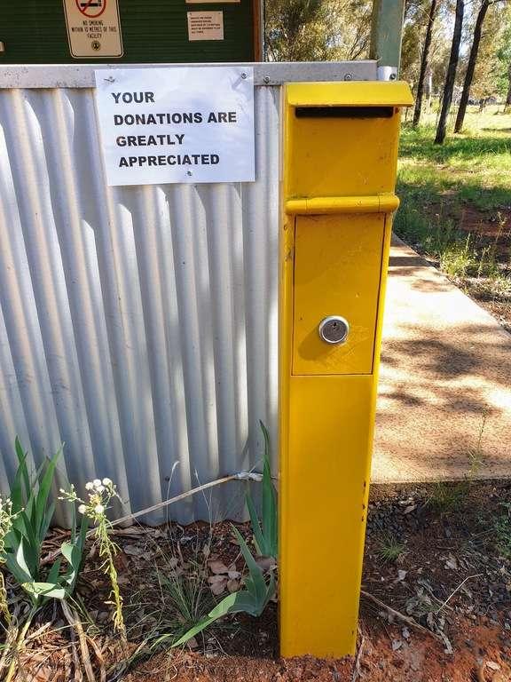 Burcher Donation Camp NSW donation box