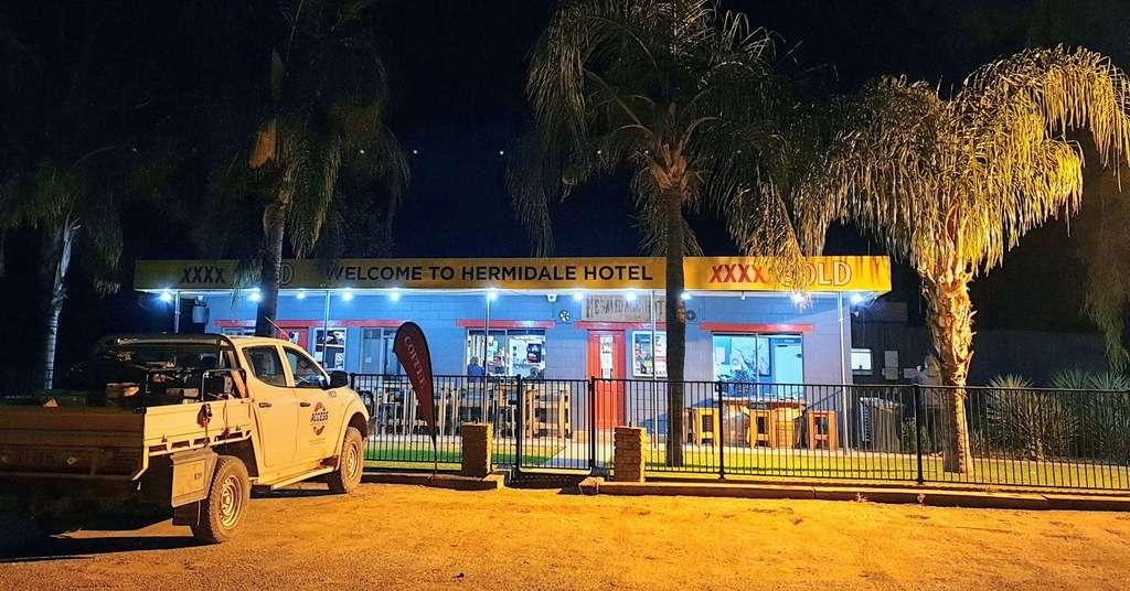 Hermidale Hotel at night