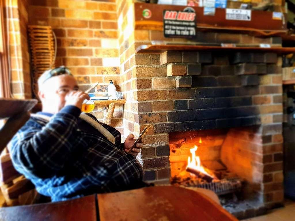 Mulga Creek Hotel Pub open fire drinking beer