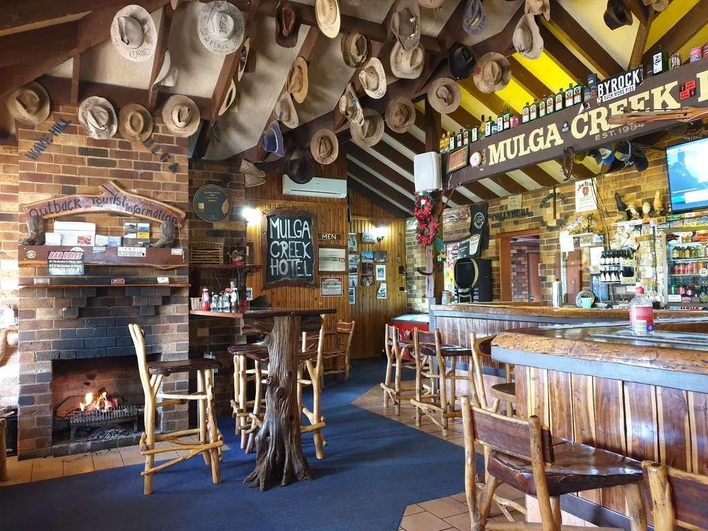 Mulga Creek Hotel Pub hats on the ceiling